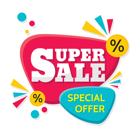 sale sticker: Super Sale - vector creative banner illustration. Abstract concept discount promotion layout on white background. Design elements.