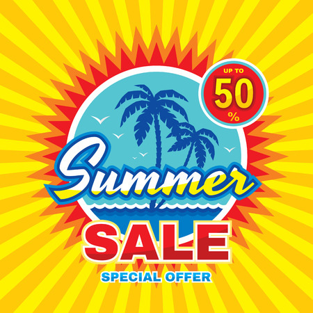 Summer sale - vector concept. Special offer creative badge layout with palms, sea wave, sun. Abstract advertising promotion sticker. Design element. Çizim