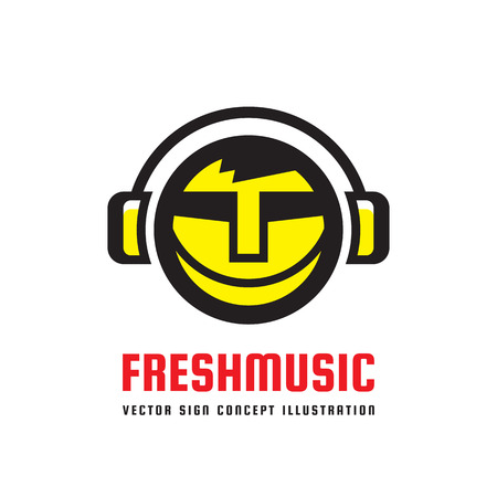 music symbol: Fresh music - vector logo concept illustration in flat style design. Audio mp3 sign. Modern sound icon. Dj symbol. Human head character. Headphones insignia. Record label songs.