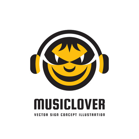 prankster: Music lover - vector logo concept illustration in flat style design. Audio mp3 sign. Modern sound icon. Dj symbol. Human head character. Headphones insignia. Record label songs. Illustration