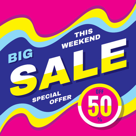 Big sale discount up to 50% - vector banner concept illustration. Advertising promotion creative layout. Graphic design element. Abstract background.