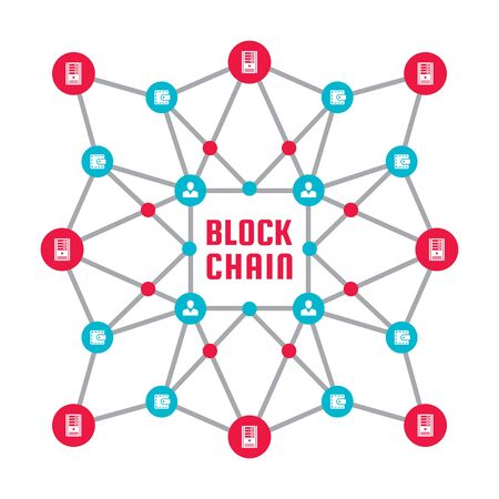 Blockchain network computer technology - creative vector concept illustration. Abstract banner layout graphic design.