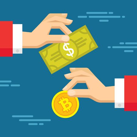 Exchange of digital currency and bitcoin - vector concept illustration in flat style. Human hands banner. Money creative layout. Modern finance economic. Graphic design.
