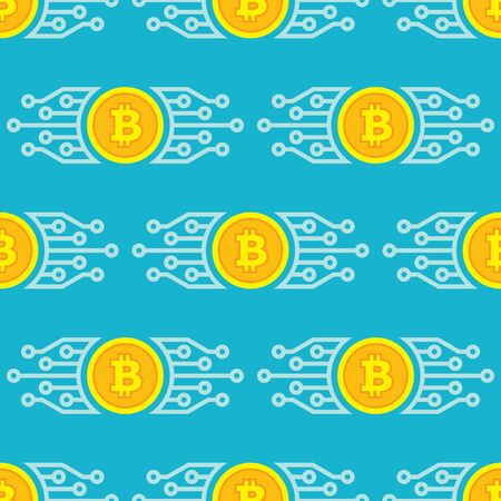 Bitcoin blockchain modern technology - creative vector background seamless pattern. Cryptocurrency digital money concept symbol. Computer network. Graphic design element.