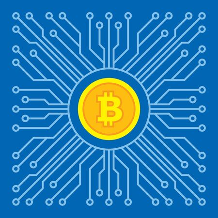 Bitcoin blockchain modern technology - creative vector illustration. Cryptocurrency digital money concept symbol. Computer chip network. Graphic design element.