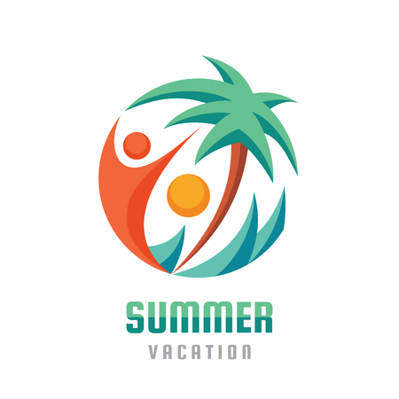 Summer vacation - creative logo template vector illustration. Abstract palm, human character, sea waves and sun. Travel happiness sign. Beach resort icon. Graphic design element.