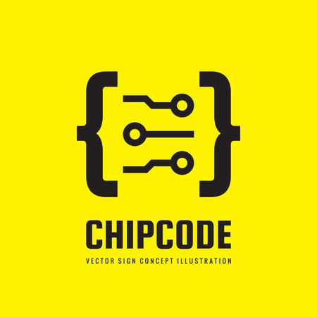 web site design template: Chip code - vector logo template concept illustration. Digital abstract creative sign. Design element. Illustration