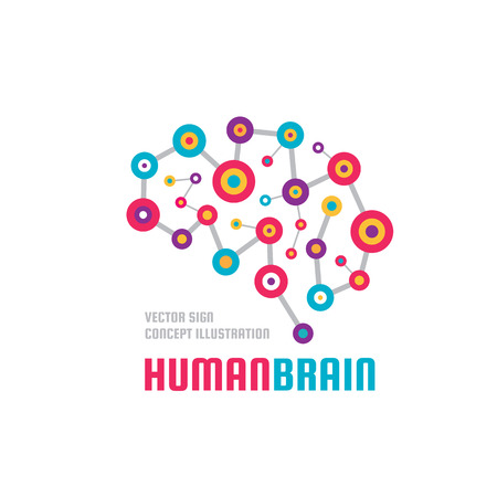 Abstract human brain - business vector logo template concept illustration. Creative idea colorful sign. Infographic symbol. Colored design element. Imagens - 84700426