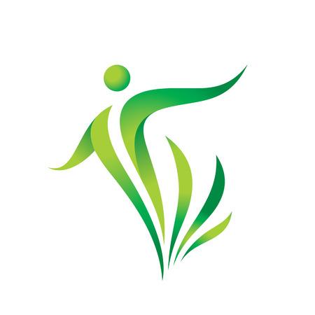 Modèle de logo vectoriel nature verte. Signe de santé. Illustration de concept de remise en forme femme Caractère humain avec des feuilles. Icône de la liberté. Élément de conception. Logo