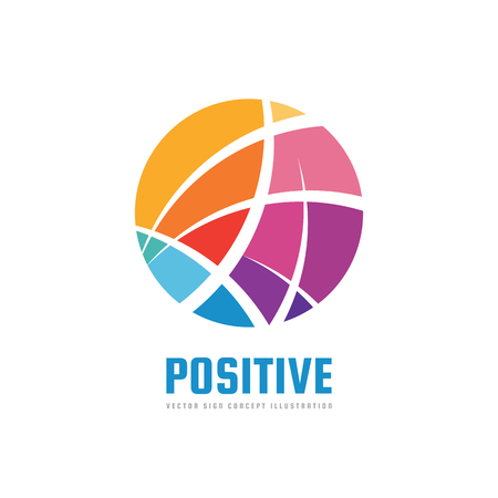 Abstract circle. Positive - vector logo template concept illustration. Modern technology sign. Global network creative symbol. Design element.