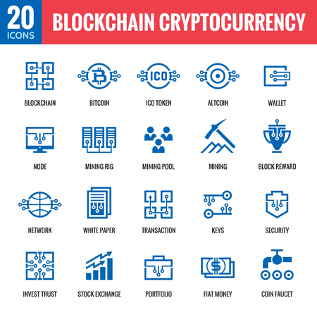 Crypto-monnaie Blockchain - 20 icônes vectorielles. Ensemble de signe de technologie de réseau informatique moderne. Collection de symboles graphiques numériques. Finance Bitcoin. Éléments de conception conceptuelle. Vecteurs