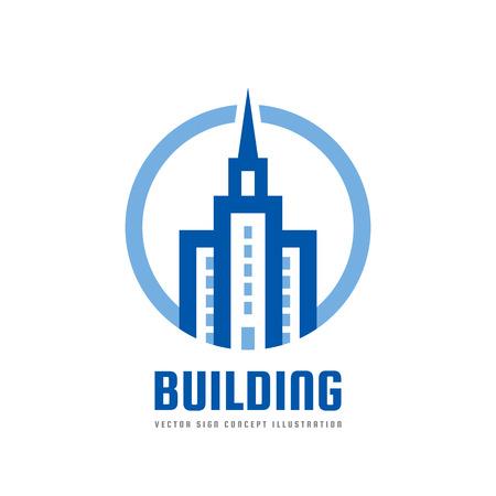 Bâtiment - illustration de concept de modèle de logo vectoriel. Symbole abstrait immobilier. Signe créatif de construction. Icône de la tour. Élément de design. Banque d'images - 86468885