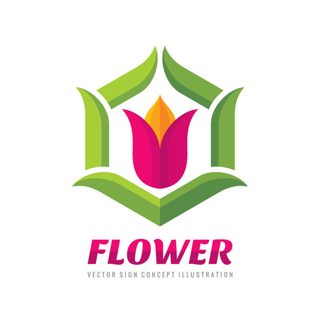 Flower - . Abstract tulip sign with green leaves. Geometric creative symbol. Design element.