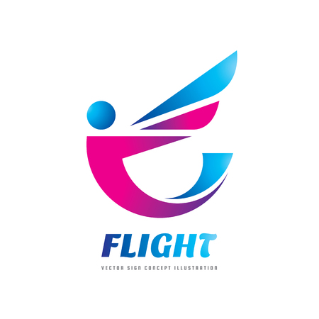 mythological character: Flight - vector logo template concept illustration. Abstract human character creative sign. Flight person with wing. Design element. Illustration