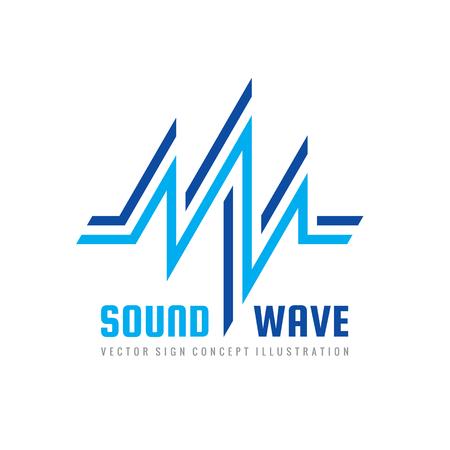 音波 - ベクトルのロゴのテンプレートの概念図。抽象的な創造的な記号。デザイン要素。