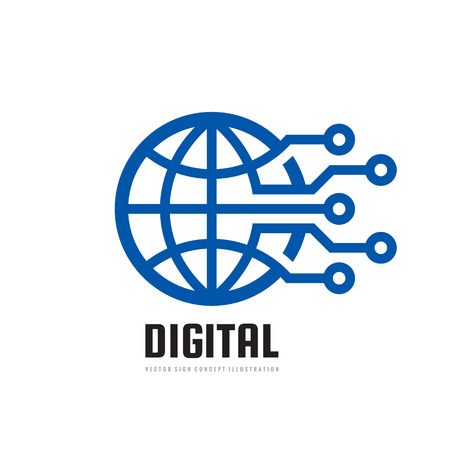 Digital world - vector business logo template concept illustration. Globe abstract sign and electronic network. Technology design elements Illustration