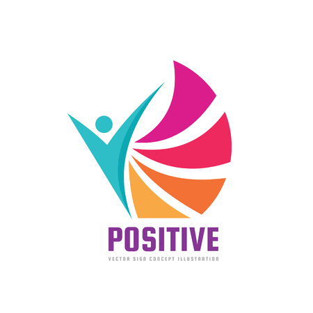 Positive - vector logo template concept illustration. Abstract human character silhouette. Vibrant color symbol. Design element. Illustration