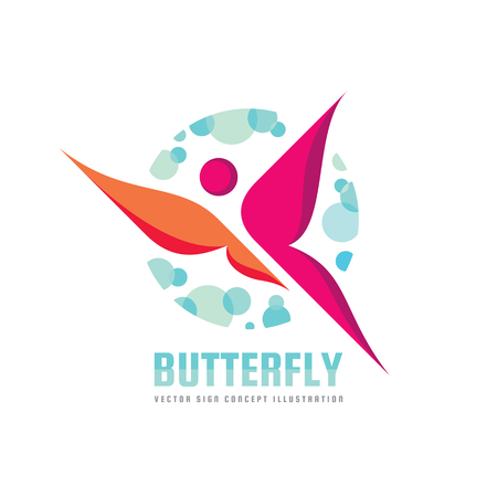 Butterfly vector logo template. Beauty salon - sign creative illustration. Human character. Abstract icon. Design element