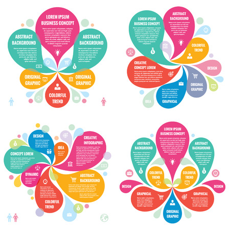 Infographic elements template business concept banners for presentation, brochure, website and other design projects. Abstract petals in pastel colors. Infographics creative layout vector set.