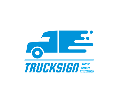 Truck sign - vector business logo template. Abstract car silhouette concept illustration. Delivery service creative symbol. Transport icon. Design element. Vettoriali