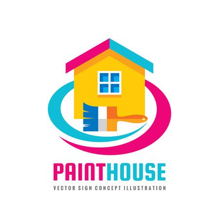 Verf huis - concept logo sjabloon vectorillustratie in vlakke stijl. Penseel en cottage teken abstract creatief symbool. Onroerend goed pictogram. Grafisch ontwerpelement.