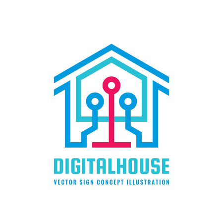 Digital smart house - vector logo template concept illustration. Modern technology creative sign. Design element.