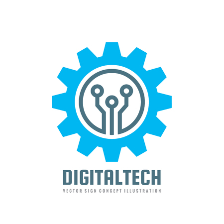 Digital tech - vector business template concept illustration. Gear electronic factory sign. Cog wheel technology symbol. Mining industry. SEO emblem. Design element.