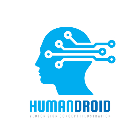 Techno human droid head vector concept illustration. Creative idea sign. Learning icon. People computer chip. Innovation technology symbol. Digital modern communication. Manager.