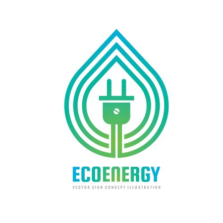 Eco energy - concept template vector illustration. Ecological environmental green power creative sign. Nature leaf abstract symbol. Graphic design element.