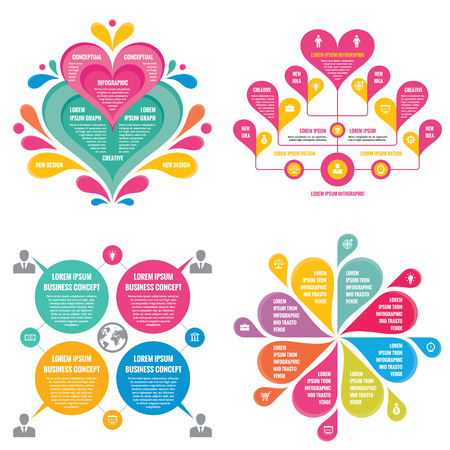 Info-graphic elements template business concept banners for presentation, brochure, website and other design project. Abstract petals in pastel colors. Info-graph creative layout vector set. Illustration