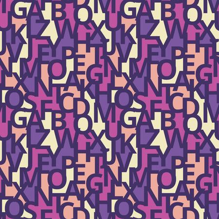 Fondo geometrico astratto della fonte - modello variopinto senza cuciture. Illustrazione creativa di vettore nei colori pastelli viola, lilla, rosa e gialli. Tipografia lettering concetto sullo sfondo.