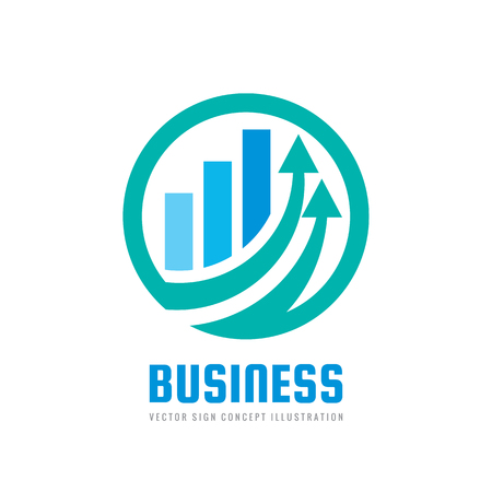 Business finance logo template - vector concept illustration. Economic infographic sign. Arrows and infograph bar. Growth graphic symbol. Investment icon. Design element Standard-Bild - 100489479
