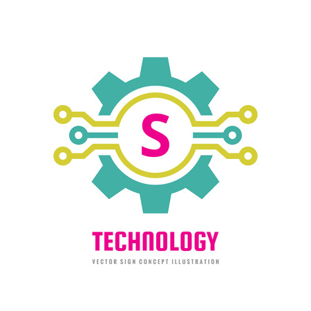 Technology Letter S - vector logo template concept illustration. Cogwheel gear abstract sign. Creative digital symbol. Mechanic industrial icon. SEO. Search engine optimization. Graphic design element