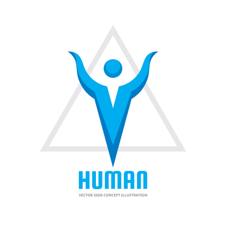 Human character  on vector logo template concept illustration. Triangle pyramid shape symbol. Abstract man sign. Illustration