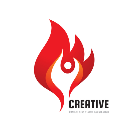 Creative - vector business logo template concept illustration. Fire flame creative sign. Abstract human character symbol. Graphic design element.