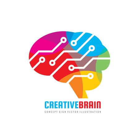 Abstract human brain - business vector logo template concept illustration. Creative idea sign. Electronic computer technology. Design element.