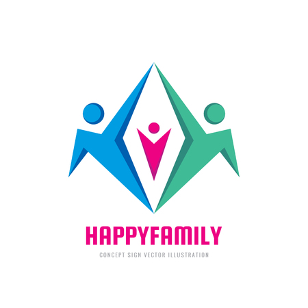 Happy family - concept sign vector illustration. Abstract human character creative sign. People icon. Social media symbol. Teamwork sign. Friendship. Graphic design element. Ilustração