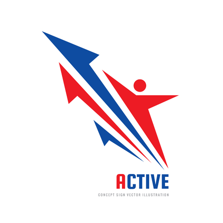 Human character - vector logo template concept illustration. Active sport and fitness people creative sign. Abstract shapes. Arrows development strategy. Graphic design element. Ilustração