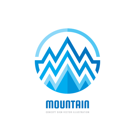 Mountain - vector logo template concept illustration. Expedition mountaineering sign. Tourism symbol. Graphic design element.