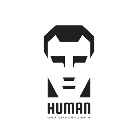 Human character head logo, concept for business, website, computer game and other projects. Man face illustration in black, white and gray colors. Design element. 向量圖像