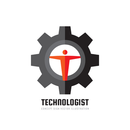 Technologist manager - vector business logo template concept illustration in flat style. Engineer people creative sign. Gear and human icon. SEO manager. Graphic design element.