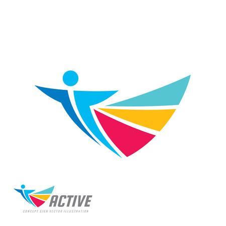 Positive - vector logo template concept illustration. Abstract human character silhouette. Vibrant color symbol. Design element.