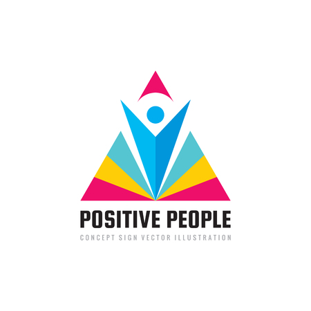 Positive people - concept business logo template vector illustration. Abstract human character with triangle pyramid shape creative sign. Happiness success geometric symbol. Graphic design element. Logo