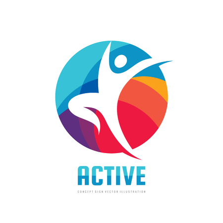 Active - concept business logo template vector illustration. Abstract human character creative sign. Sport fitness people symbol. Health icon. Graphic design element.