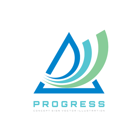 Abstract triangle - vector logo template concept illustration for corporate identity. Pyramid sign. Progress development icon. Design element.