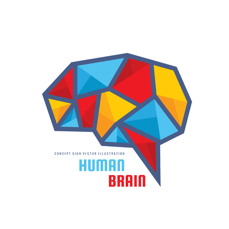 Creative idea - business icon template concept illustration. Abstract human brain creative sign. Polygonal geometric structure. Mind education symbol. Triangle design element.