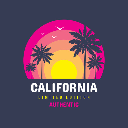 California - concept logo badge vector t-shirt and other design print productions. Summer, sunset, palms, surfing, sea waves. Tropical paradise Long beach. Limited edition. Authentic