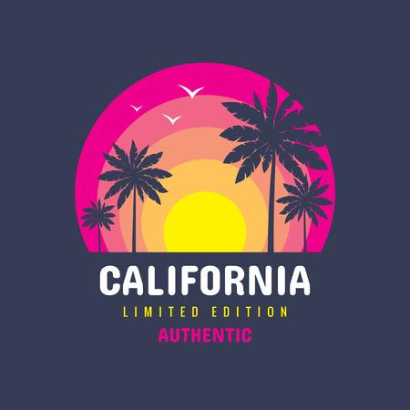 Kalifornien - Konzept-Logo-Abzeichen-Vektor-T-Shirt und andere Design-Druckproduktionen. Sommer, Sonnenuntergang, Palmen, Surfen, Meereswellen. Tropisches Paradies Long Beach. Limitierte Auflage, beschränkte Auflage. Authentisch