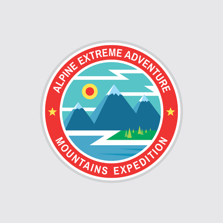 Alpine extreme adventure - concept badge in flat design style. Mountains expeditions creative vintage logo. Discovery outdoor circle sign. Hiking climbing Travel graphic icon. 일러스트
