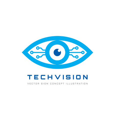 Tech vision - vector logo template concept illustration. Abstract human eye creative sign. Security digital technology and surveillance. Design element.